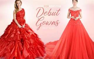 Red ball gown for debut for rent