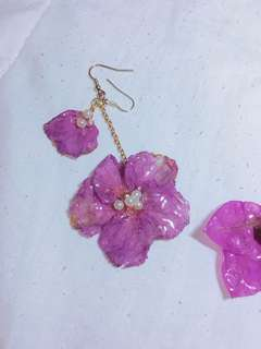 Handmade Dripping flowers earrings