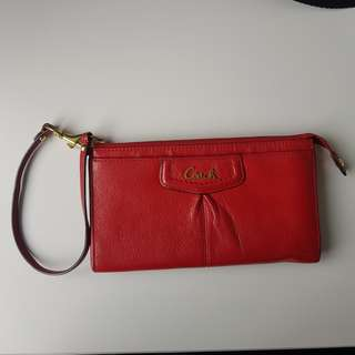 Coach Authentic Wallet Wristlet with coin purse and card slots cardholder Red minimal flaw auth phone fits pouch