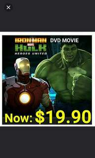 RONMAN MARVEL HULK HEROES UNITED DVD MOVIE:.  Region code:3 . Usual Price: $29.90  Lowest Price: $ 19.90 + Free Mail postage (Brand New In Box & Sealed)