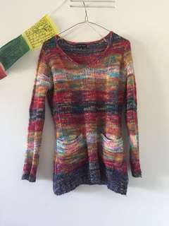 Rainbow knit jumper with pockets size 8