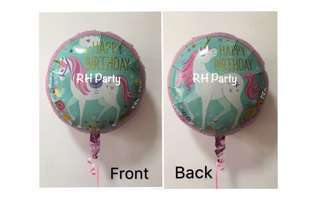 (12/6) Include helium Happy Birthday magical unicorn foil balloon (dual design on foil) Holograpic
