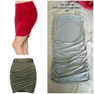 Draped Stretched Pencil Skirt