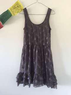 Pretty grey layered lace dress with dragonflies