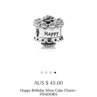 Pandora Silver Happy Birthday Cake Charm