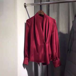 Lanvin silk wrap  top in deep red / Dark green and blue