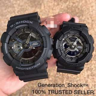COUPLE💝 PAIR SET in CASIO BABYG GSHOCK DIVER SPORTS WATCH come 1-YEAR OFFICIAL WARRANTY: 100% Originally Authentic BABY-G-SHOCK resistant In Deep Black Stealth Matt Best Rough Users & Unisex: GA-110 & BA-110BC / GA110 / BA-110 / BA110