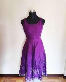 Purple Sleeveless Long Dress