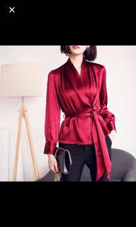 Lanvin silk satin wrap top in deep red , jewel green and electric blue