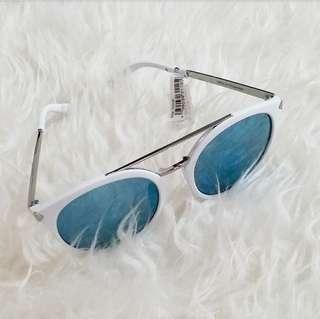 Matte White and Blue Lense Sunglasses