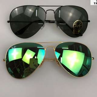 ray ban aviator flash lenses rb3025 58mm / 62mm size brand new full packages original polarized $900  太陽眼鏡 sunglasses