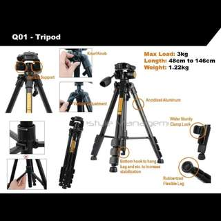 DSLR Camera Professional Aluminium Ruddegized Tripod/Monopod 3-Axis/Ball Head with Quick Release Plate + Carrying Bag/Case