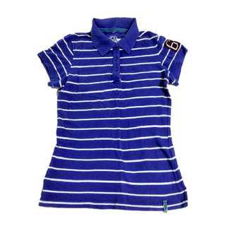 Voir Jeans Royal Blue Striped Polo Tee Size M#50under