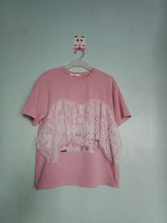 Old Pink Lacey Top