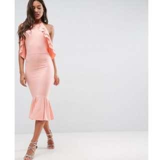 ASOS Double Ruffle Open Back Pephem Midi Dress