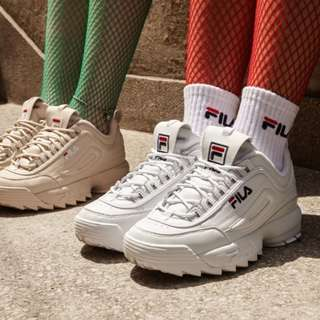 White Original Fila shoes Disruptor 2 thick bottom shoes