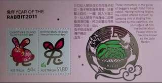 澳洲聖誕島兔年郵票小全張