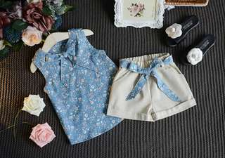 Girls 2 Pieces Set Blouse + Short Pant