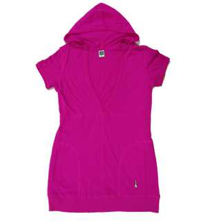 🆕Hush Puppies Pink Red V-neck Hoodie Top/Dress size M#mcsfashion
