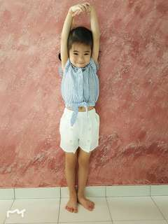 Girls 2 Pieces Set Blue Blouse + White Pant