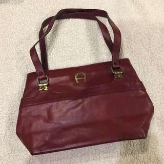 Vintage Maroon Aigner Leather Handbag