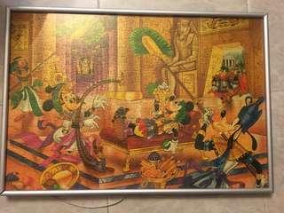 Disney 拼圖畫 Mickey Mouse Minnie Mouse goofy disney puzzles declaration pictures Egypt cartoon 古埃及卡通畫 擺設 掛牆畫  迪士尼 卡通人物 米奇老鼠 米妮 高飛狗