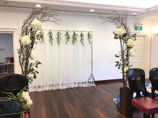 Wedding Backdrop / Rustic Venue Deco / Rustic Fresh Flower Arch with White Hydrangeas and Rustic Leaves