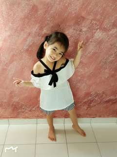 Girls 2 Pieces Set White Blouse + Black&White Pant