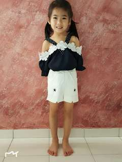 Girls 2 Pieces Sets Dark Blue Blouse + White Pant