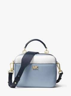 Michael Kors Mott Mini Color-block Pebbled Leather Crossbody - blue