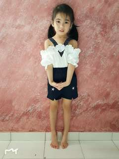 Girls 2 Pieces Set White Blouse + Dark Blue Pant