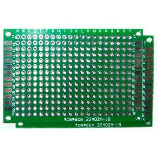 2PCS of 4 by 6 cm Double Side Prototype PCB Tinned Perfboard