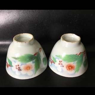 聽雨樓:#MSH-0016:【民國】民國刷花春雨梨花茶杯一對 (微瑕)