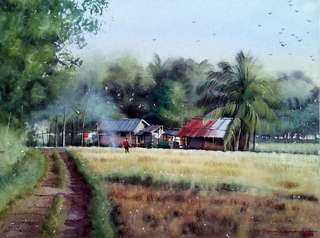 """Watercolor Painting: """"Morning At The Field""""_Daniel Smith on 185gsm arches_15×20 inches_2018"""