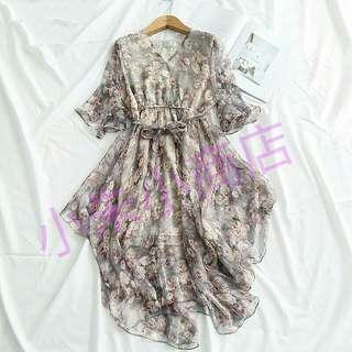 [PO] Women Floral Print Dress Holiday Style V-Neck Flare Sleeve  Asymmetrical Hem Female High Waist Sashes Dress