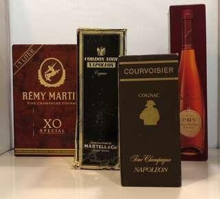 Remy Martin,Martell,Courvoisier,FOV 吉盒4個