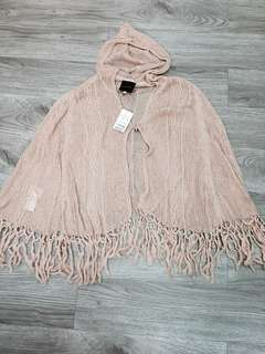 Rose Bullet Knitted hoodie cape in dust pink