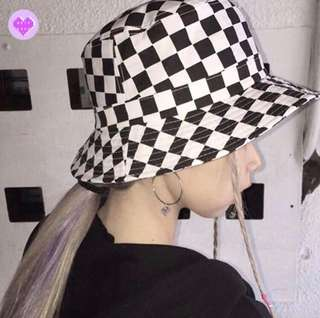 Korean Ulzzang: Long Strap Plaid Bucket Fisherman Unisex Hat