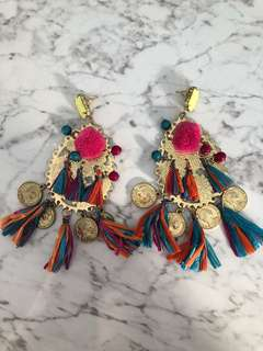 Rainbow gold fringe earings