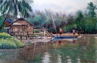 """Watercolor Painting: """"Sumalig Boat""""_Daniel Smith Watercolor on 185gsm arches_15×22 inches_2018"""