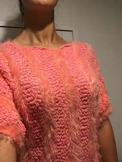 3/4 sleeve fluffy jumper