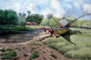 """Watercolor Painting: """"Abandoned Boat""""_Daniel Smith watercolor on 185gsm arches_15×22 inches_2018"""