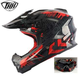 INSTOCK SIZE L ★ FREE GOGGLES (worth $29) @ $100 ★THH Full Face Motorcycle Helmet Motocross Scrambler Offroad Dirt Bike ★ Glossy Black Red★ Helmet @ $90 without goggles.