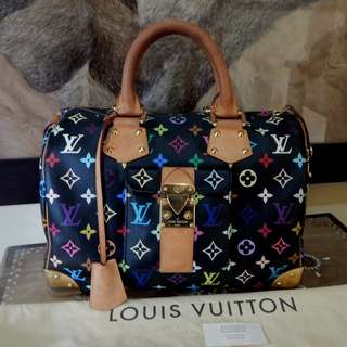 LOUIS VUITTON mono black multicolore speedy bag