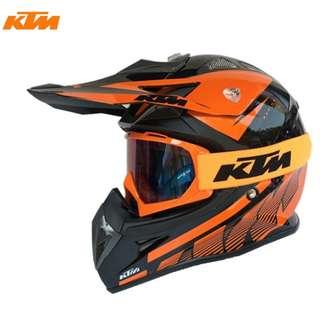 INSTOCK SIZE L ★FREE GOGGLES ★ KTM Full Face Motorcycle Helmet Motocross Scrambler Offroad★  Dirt Bike ★ New Arrivals ★ Ready stock★ Orange Black ★