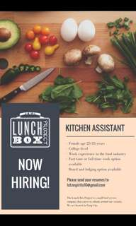 Now Hiring Kitchen Assistant