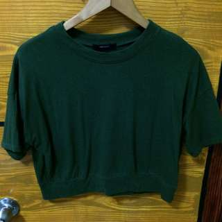 Forever21 olive green semi crop top