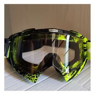 ★MOTOVAN GOGGLES ★ Motorcycle helmet Clear lens Goggles for e-scooter ★ downhill scrambler offroad dirt ★ motocross bike ★ racing ★ cycling ★Green ★ New arrivals