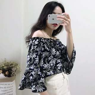 🚚 PO Klara Dark Base Floral Off Shoulder Top