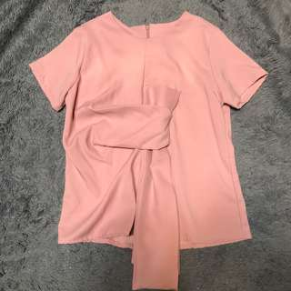 PINK TIED BLOUSE